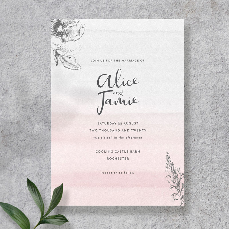 blush and grey invite