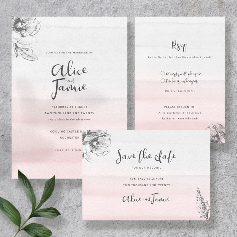 blush and grey sample set