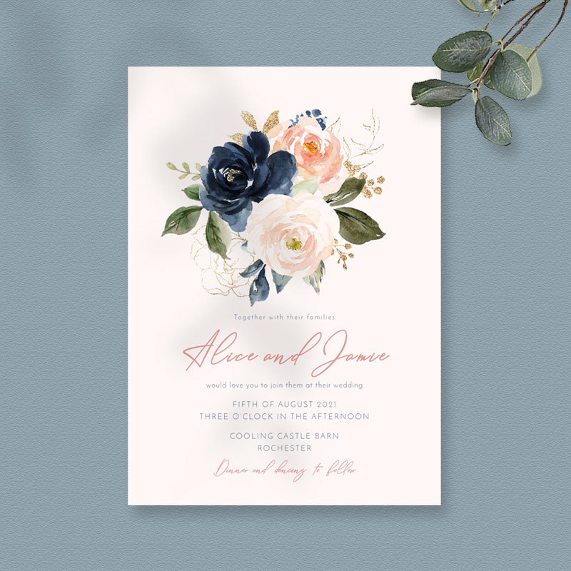Blush & Navy invite