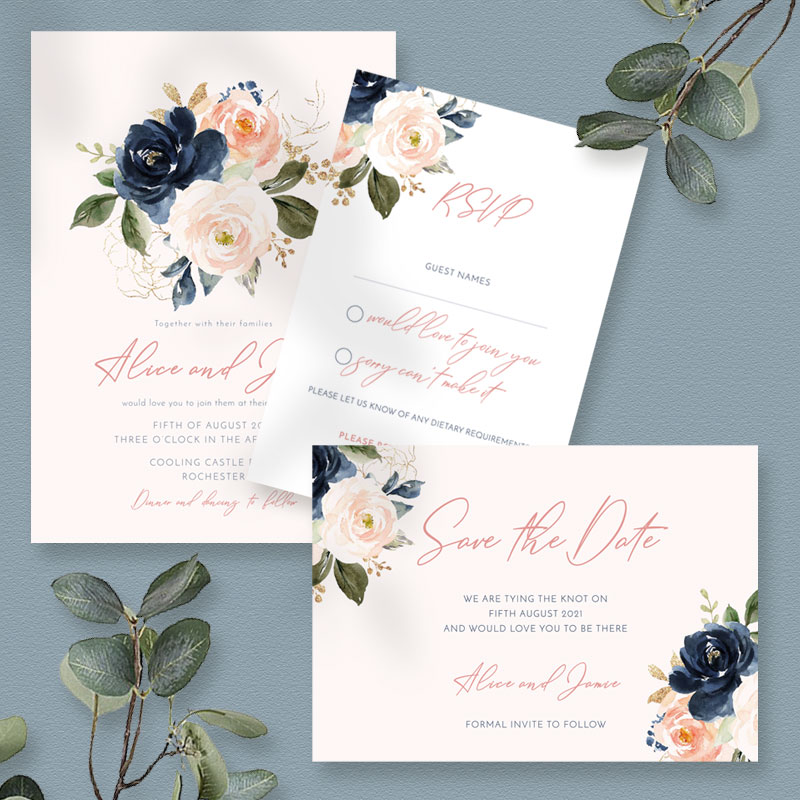 blush & navy sample set