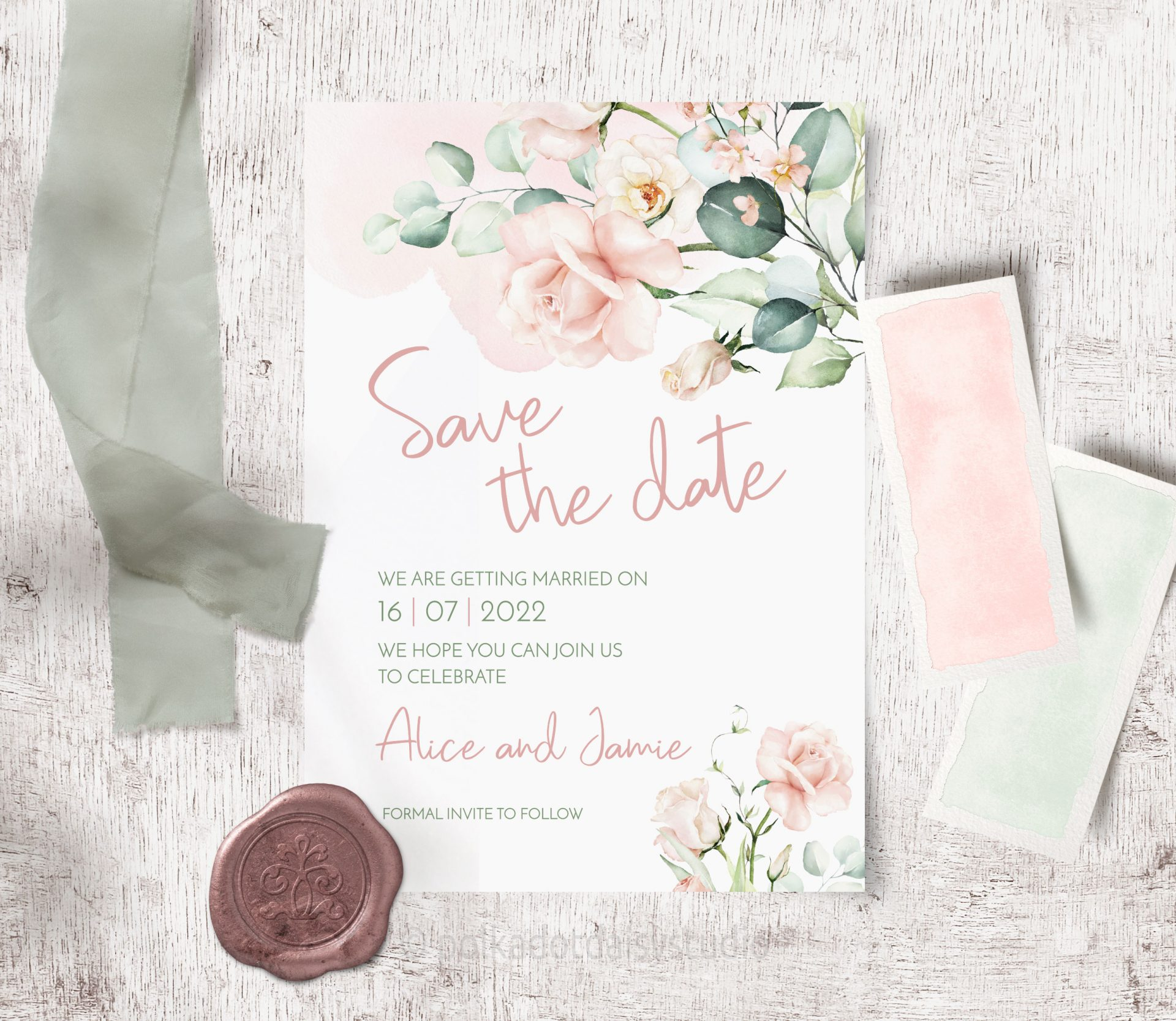 blush soft pink watercolour rose save the date