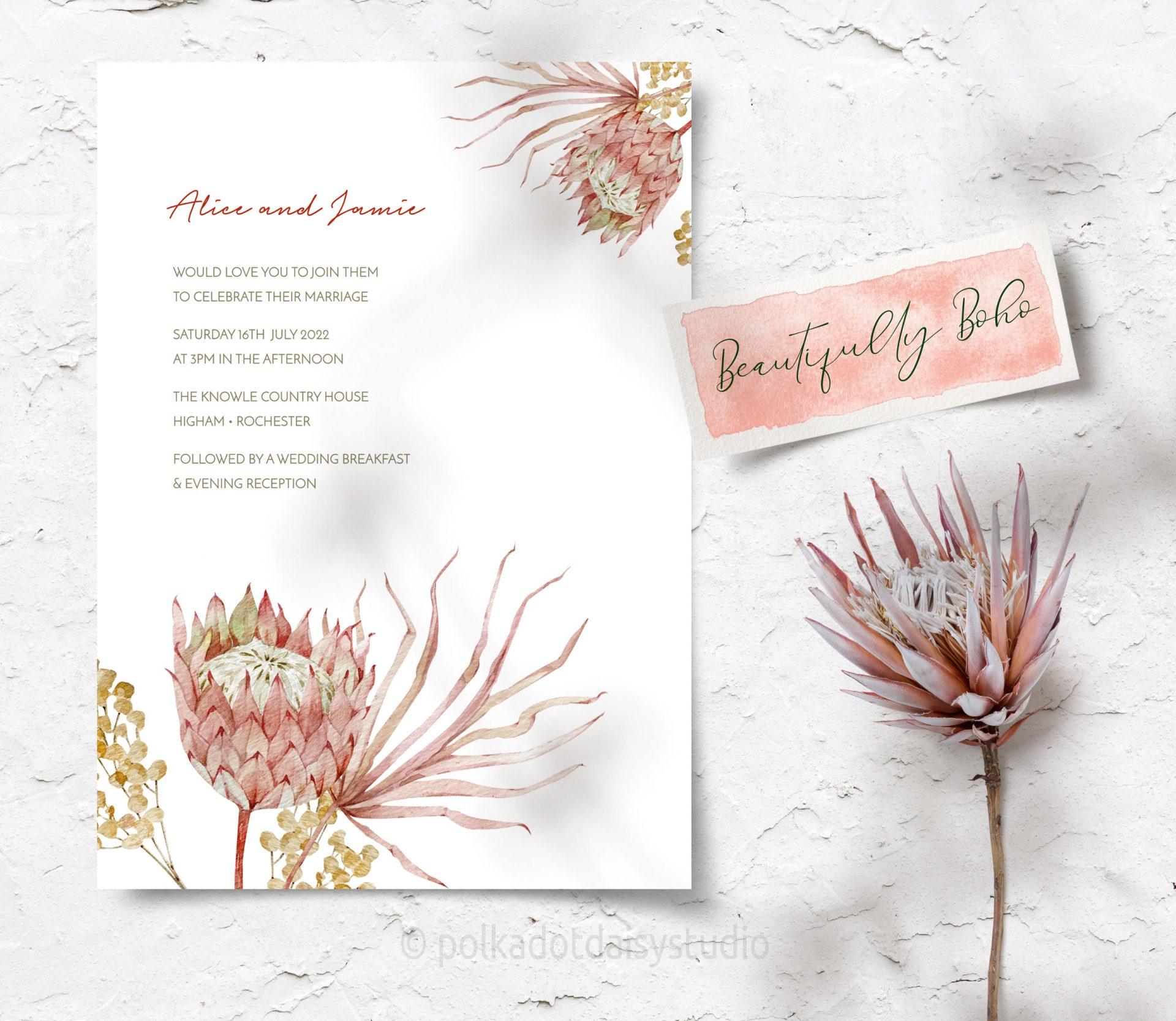 boho exotic protea invite