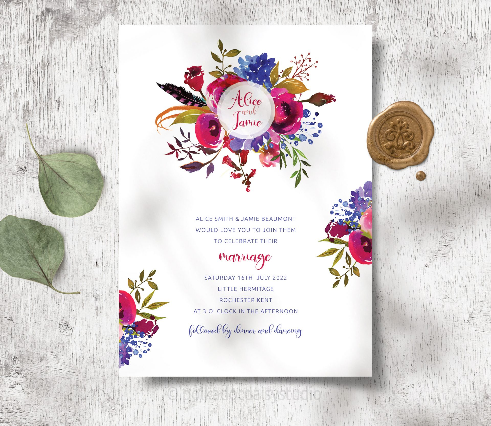 burgundy and blue winter berry invite