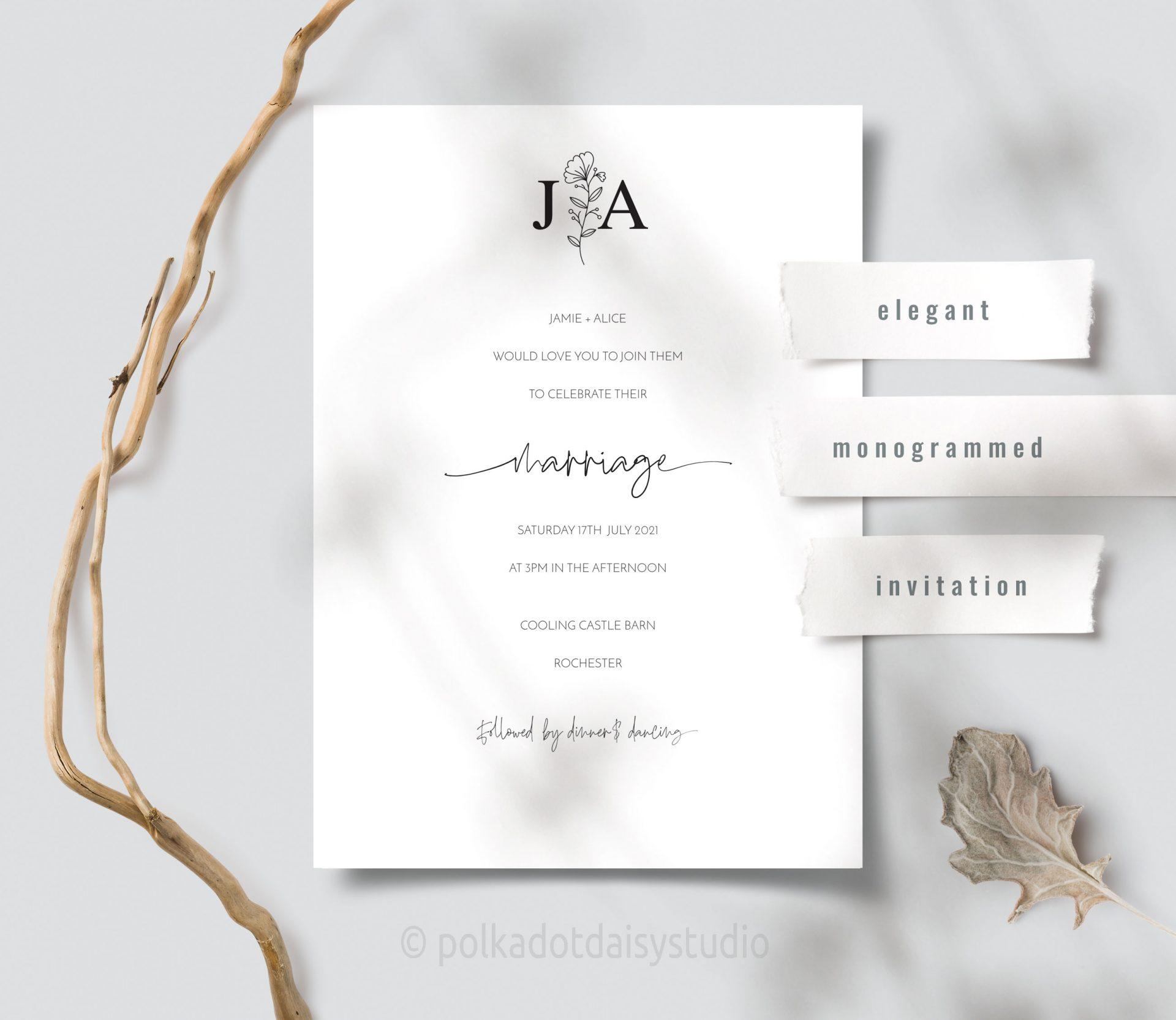 botanical monogram invite