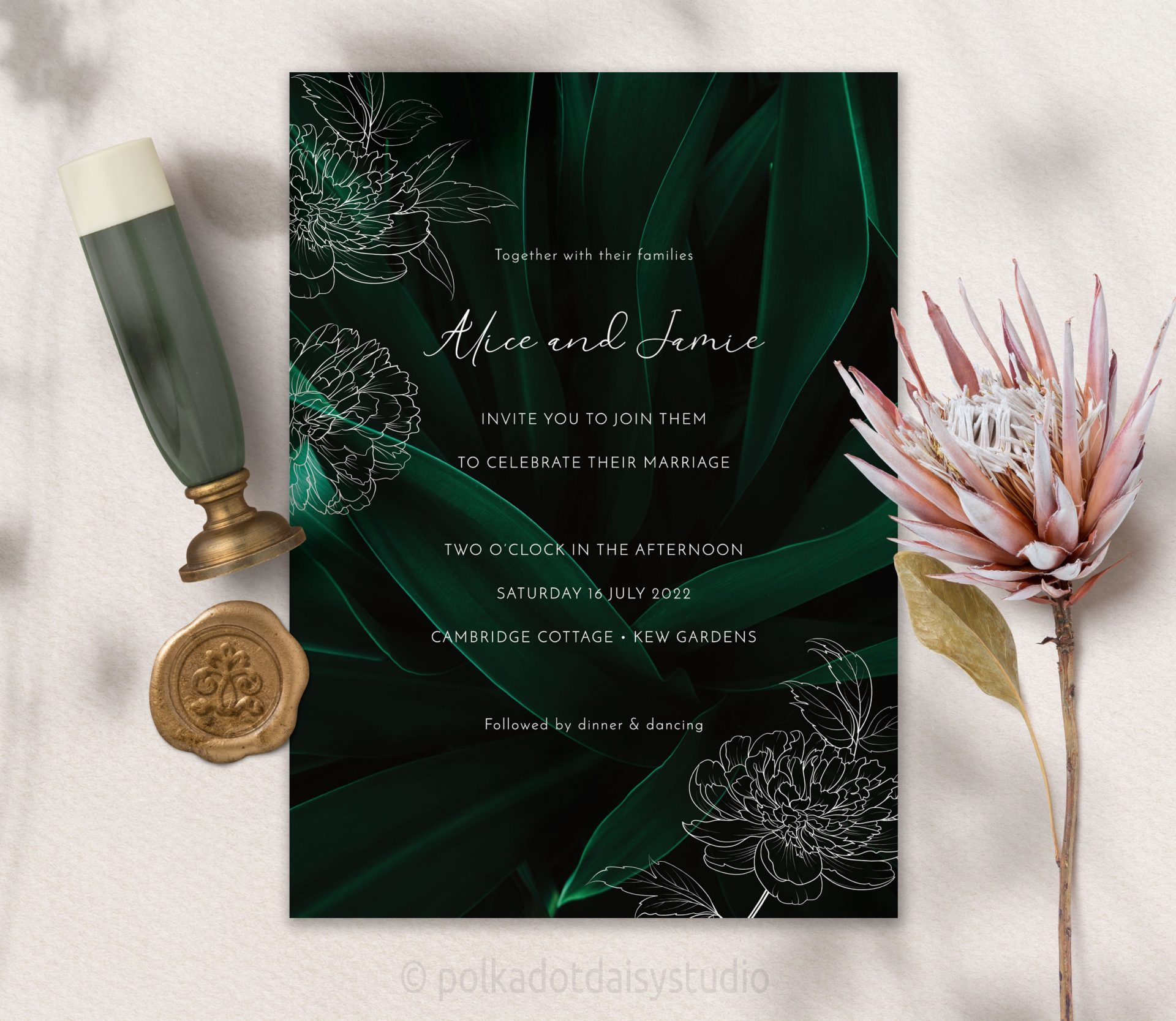 dark green tropical wedding invite