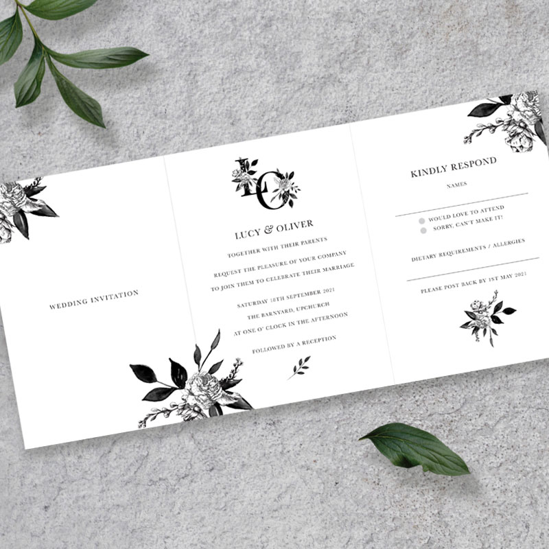 floral ink concertina invite inside landscape