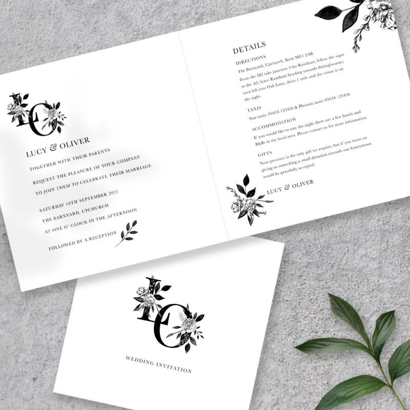 Floral Ink folded invite inside