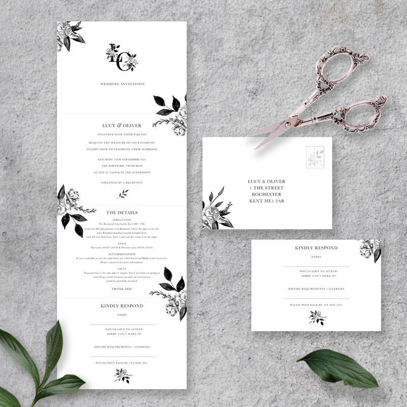 floral ink four page concertina invite