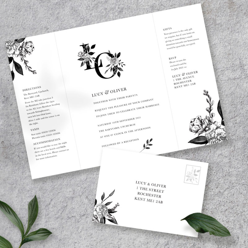 floral ink gate fold with rsvp card