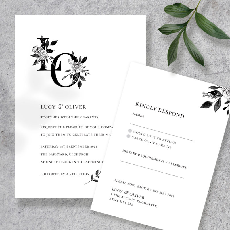 Floral ink invite and rsvp