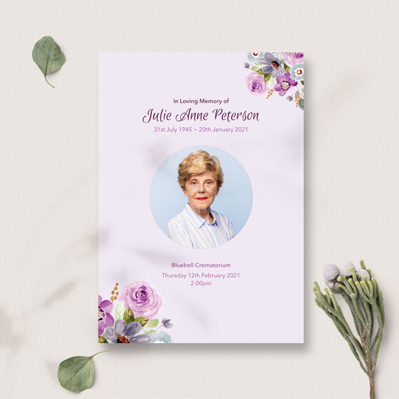 lilac floral funeral order of service cover