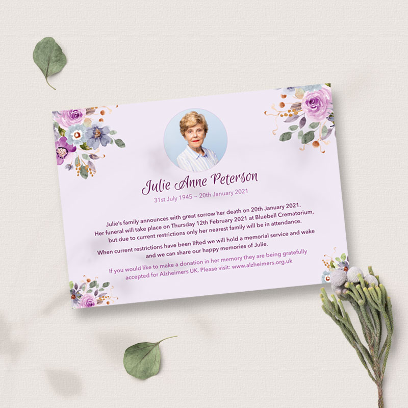 lilac flowers death announcement card