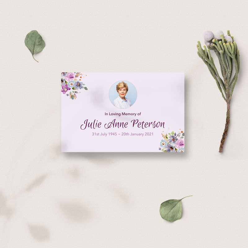 Lilac flowers keepsake card front