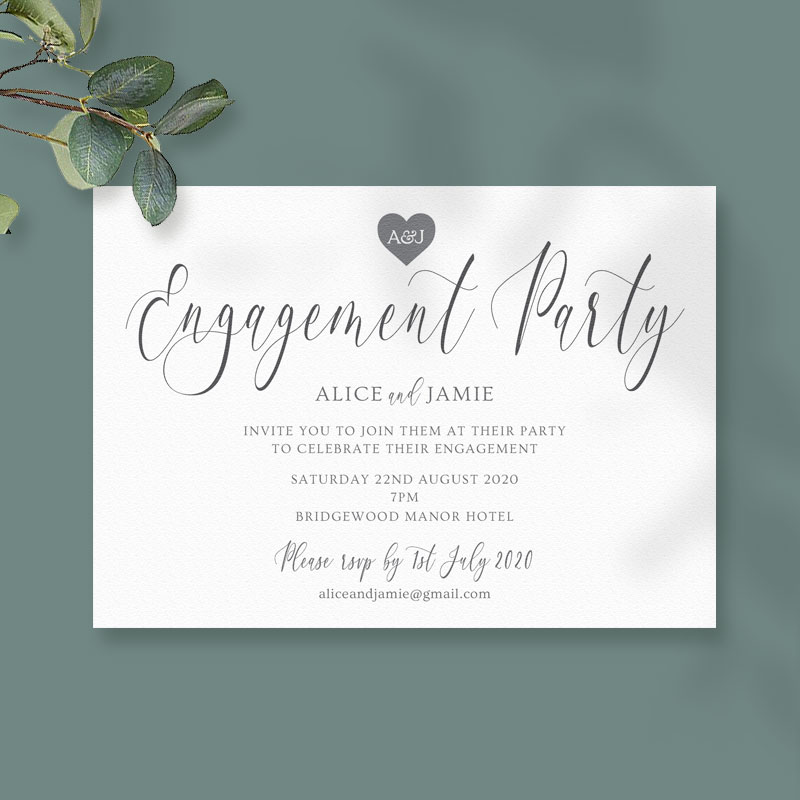 monogram heart engagement card