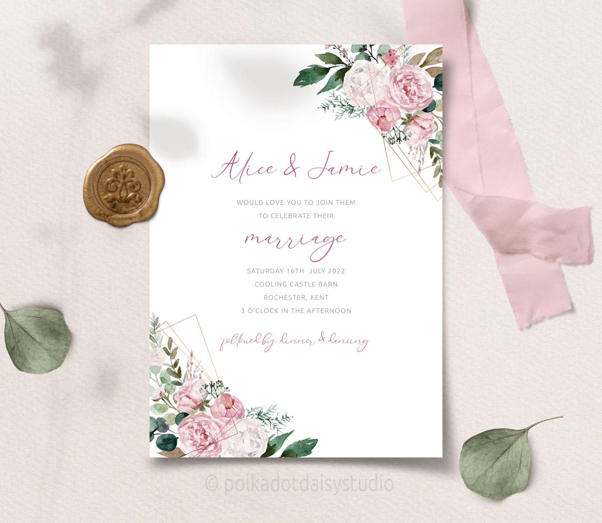pink peony and eucalyptus geometric wedding invite