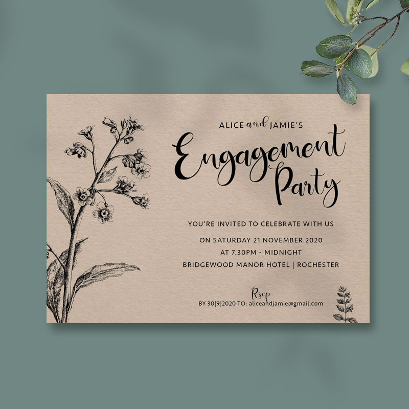 rustic boho engagement card harvest