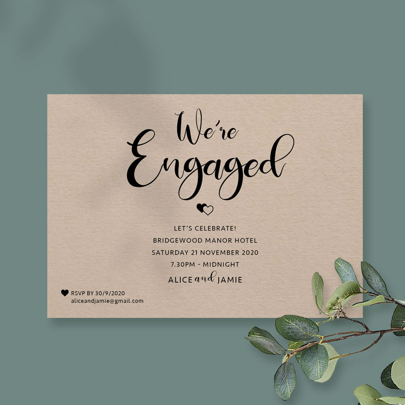 Twin hearts engagement card harvest
