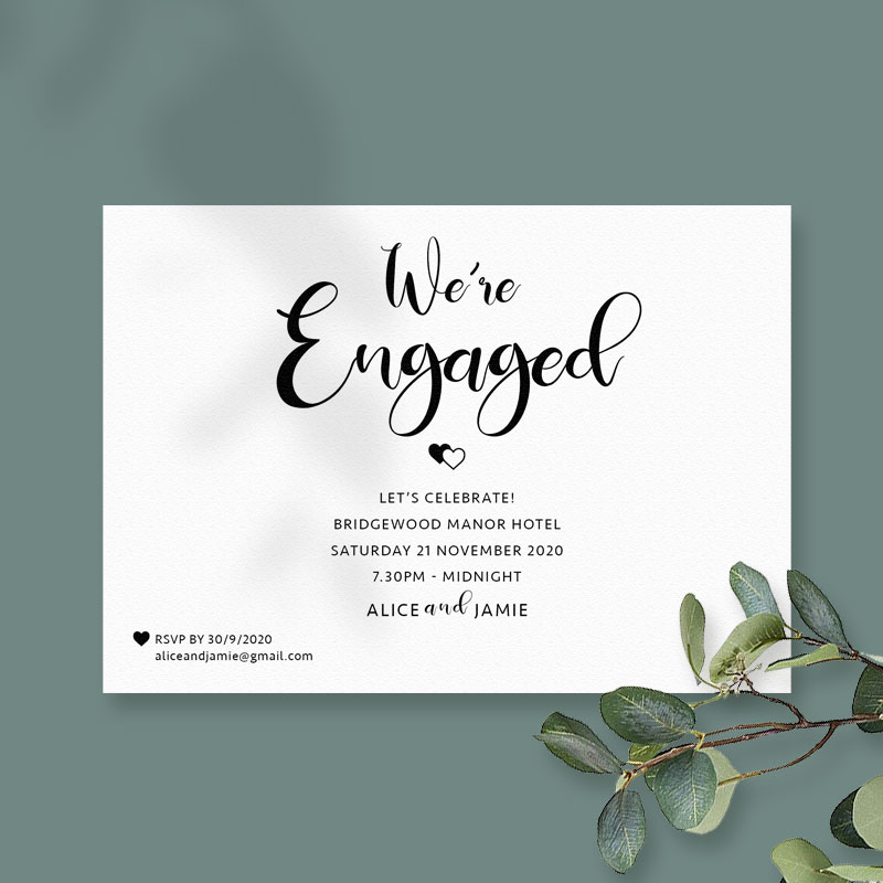 Twin hearts engagement card white
