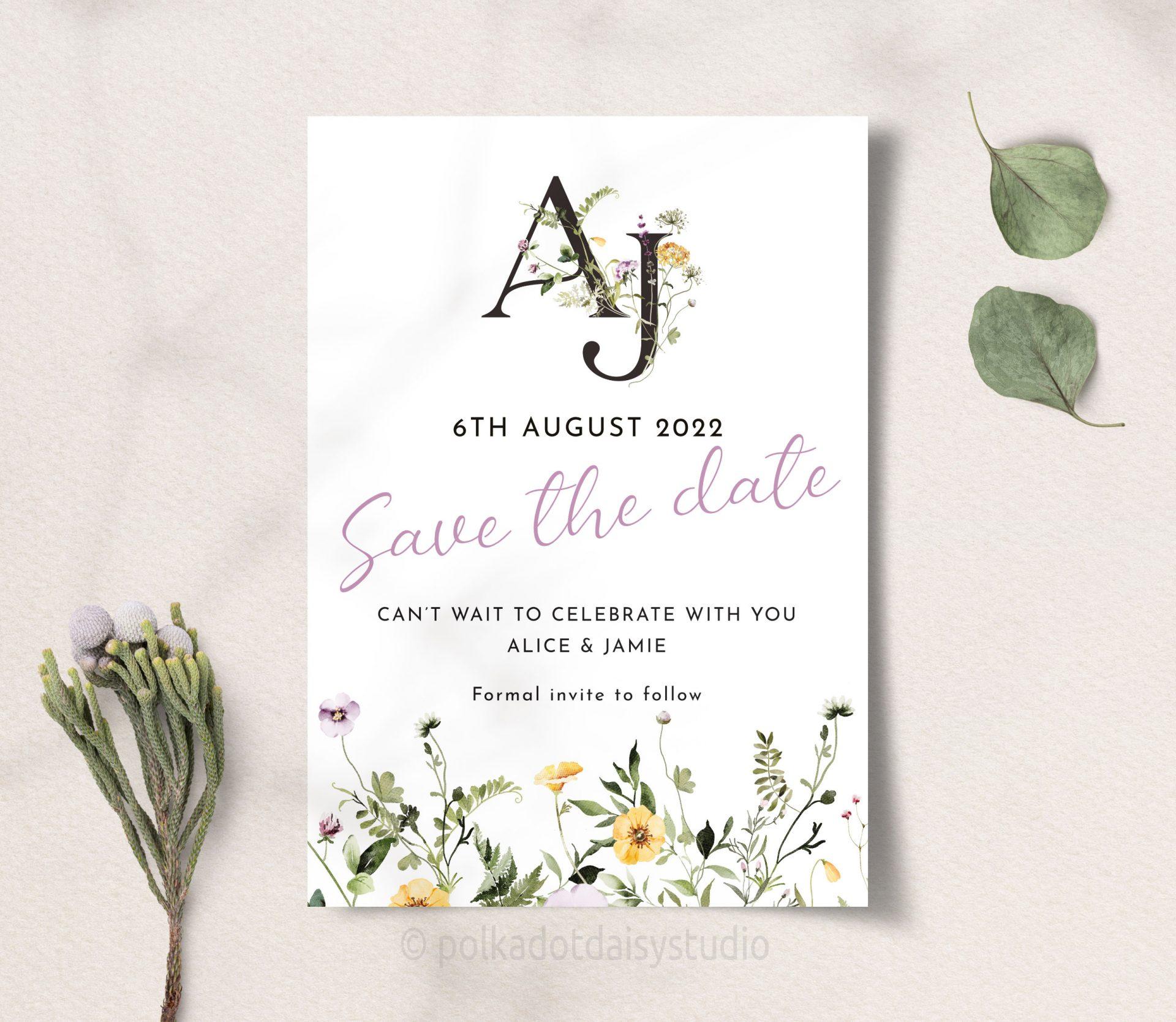 Wildflower monogram save the date