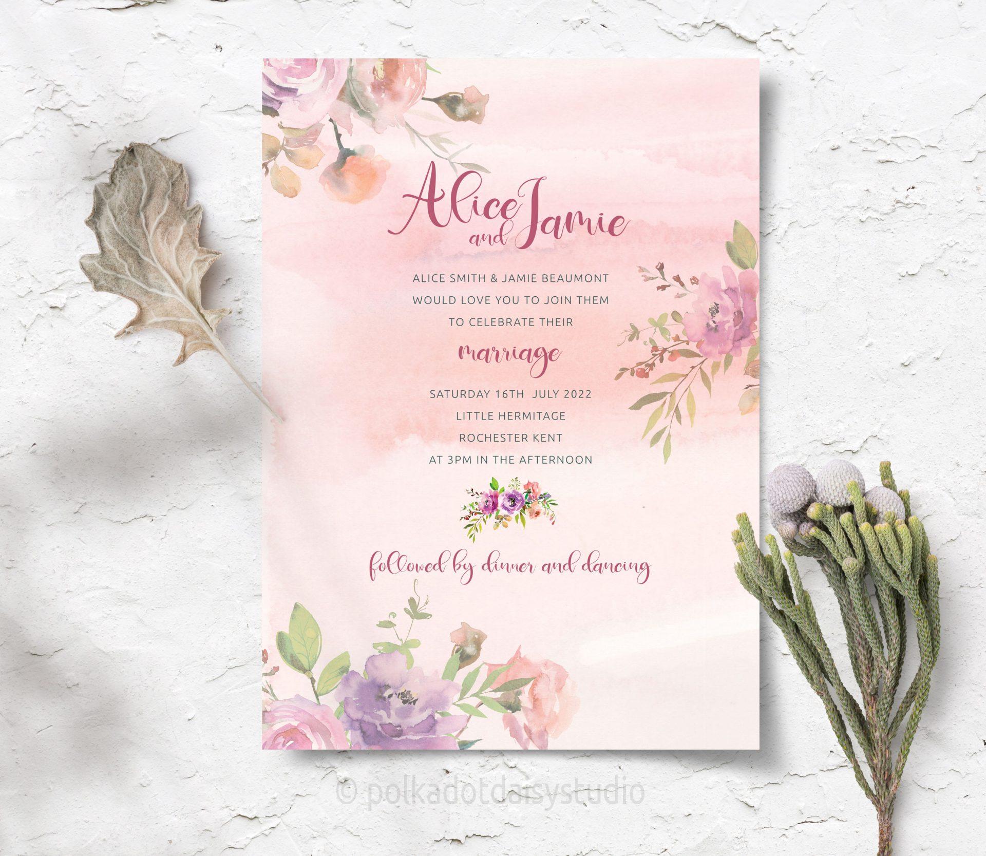dusty rose vintage invite